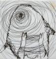 Minotaurosz vázlat, 2004 kl, tus, papír, 18x17,5 cm