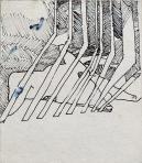 Kerítés mögött, 1996 kl, tus, papír, 20x17 cm