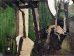 Hátsó udvarban, 1973-74 kl, olaj, farost, 60x80 cm