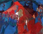 Pesti előadás, 1975, olaj, vászon, 75x95 cm