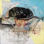 Eljő a szenes, 1980 kl, olaj, vászon, 40,5x40,5 cm, (magántulajdon)