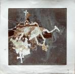 Kálvária, 1992, monotípia, ceruza, papír, 55x55,5 cm