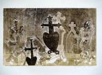 Öreg temető, 1992, monotípia, papír, 34,5x48,5 cm