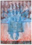 Papírangyalok, 2003, monotípia, vegyes technika, papír, 73x53 cm, (magántulajdon)