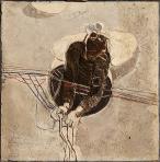 Kábeles, 1978 kl, stukkó, sgraffito, alumínium, hungarocell, 100x100 cm