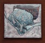 Dudás, 2000, sgrafitto, vászon, hungarocell, 80x89 cm, (magántulajdon)