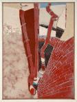 Két ház között, 1989 kl, sgrafitto, hungarocell, farost, 114x99 cm, (T-Art Alapítvány)