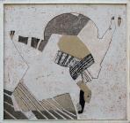 Lépcsőház (Corpus), 1993, sgraffito, hungarocell, farost, 92x98 cm, (magántulajdon)