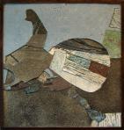 Kép (Korpusz), 1990-94 kl, sgraffito, hungarocell, farost, 115x90 cm, (T-Art Alapítvány)