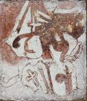 Régi temető, 1992 kl, sgraffito, vászon, hungarocell, 61x52 cm