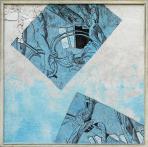Szent György, 2002 kl, sgraffito, hungarocell, farost, 103x103 cm