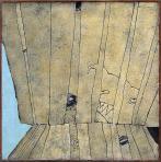 Kerítés, 1994, sgafitto, vászon, hungarocell, farost, 125x125 cm