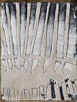 Kerítés mögött, 1994-97 kl, sgraffito, hungarocell, farost, 35x28 cm