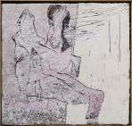 Séta, 1995, sgraffito, vászon, hungarocell, farost, 100,5x105,5 cm