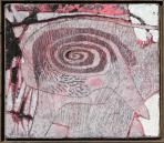 Madárszem, 1994, sgraffito, vászon, hungarocell, farost, 46x53 cm, (magántulajdon)