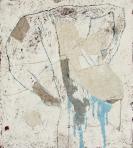 Táltosbáb, 2001 kl, sgraffito, vászon, farost, 89x80 cm