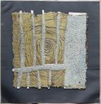 Kerítés, 1997, papírpép, akril, vegyes technika, karton, 104x100 cm