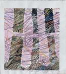 Rózsaszín kerítés, 1998, homokmassza, tempera, pasztell, vegyes technika, papír, 39x35 cm