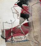 Bohóc I., 1996, homokmassza, ceruza, tempera, papír, 35x31 cm