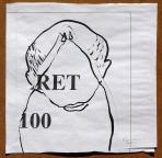 RET 100, 2002, kollázs, tus, papír, 38x38 cm